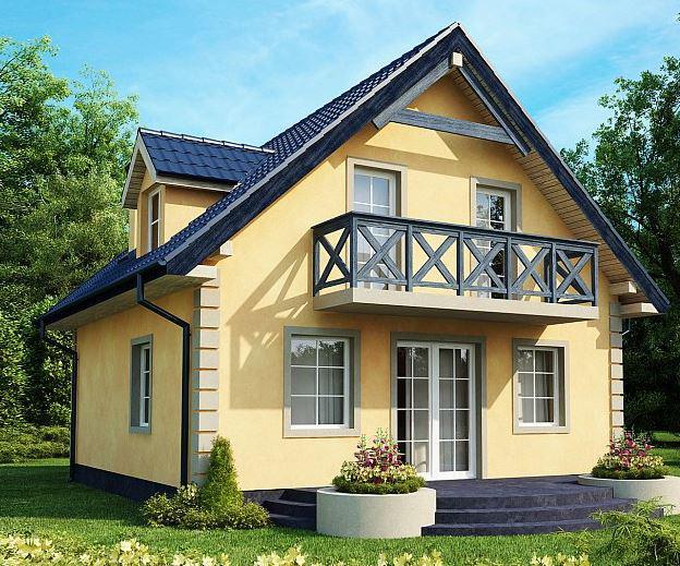 Realistična vizualizacija tipske hiše, ki arhitekturno spada v osrednje-bavarski slog, Z500