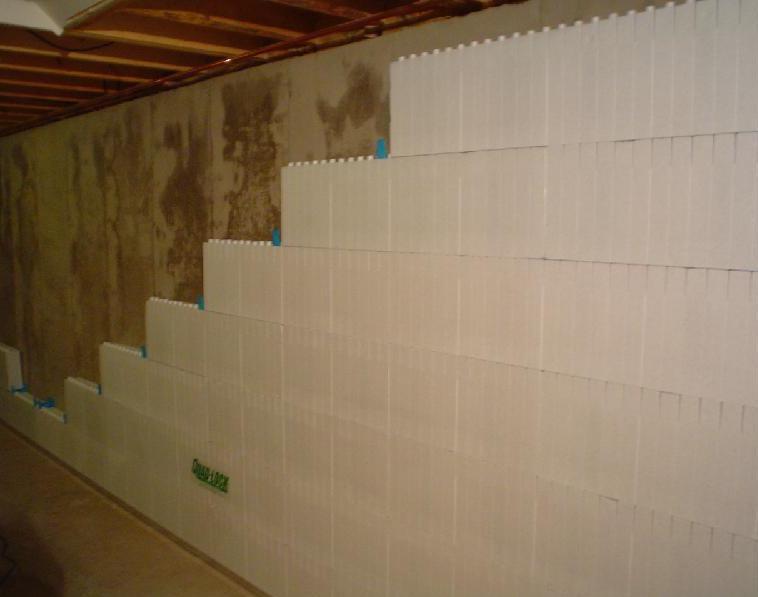 Izolacija ne notranji strani objekta - Covering interior cinder block walls ...