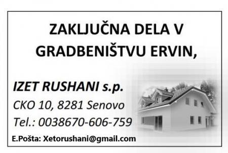GRADBENIŠTVO ERVIN, IZET RUSHANI s.p.