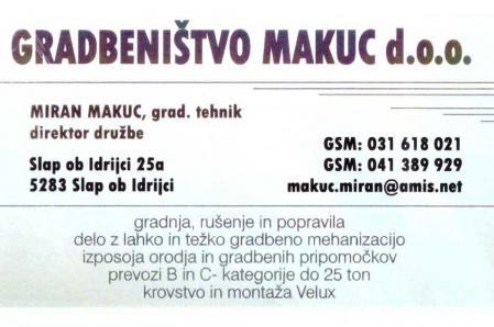 GRADBENIŠTVO MAKUC, Družba za izvedbo gradbenih del d.o.o.